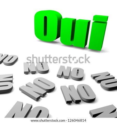 Green yes between gray no french text, thinking different concept 3d illustration - stock photo
