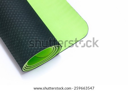 Green Yoga Mat with White Background