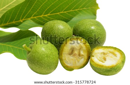 Green young walnuts in husks and leaves - stock photo