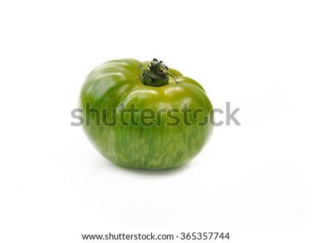 green zebra tomato isolated on white background - stock photo