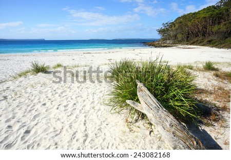 Greenfields Beach Jervis Bay is a rustic natural and unspoilt beach in Jervis Bay, Australia.   It is located along the White Sands Walk, a superb and breathtaking track. - stock photo