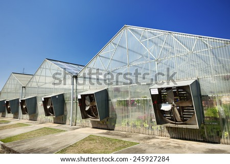 Greenhouse under blue sky - stock photo