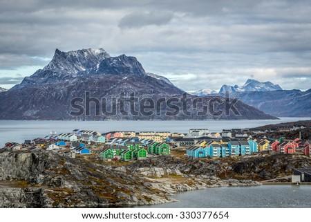 Greenland, capital landscape - stock photo