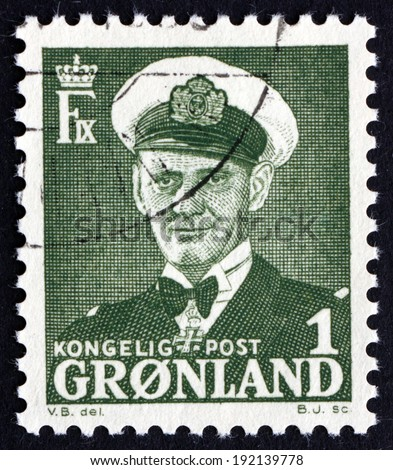 GREENLAND - CIRCA 1950: a stamp printed in the Greenland shows Frederik IX, King of Denmark, circa 1950 - stock photo