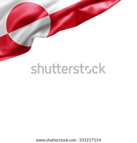 Greenland flag of silk with copyspace for your text or images and White background