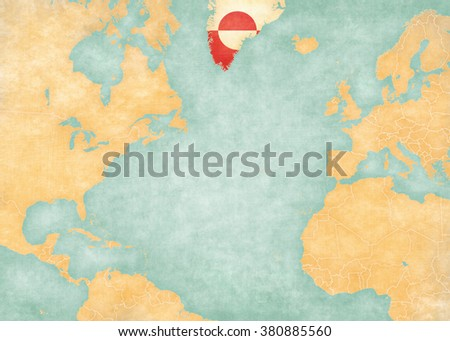 Greenland (Greenlandic flag) on the map of North Atlantic Ocean. The Map is in vintage style and sunny mood. The map has soft grunge and vintage atmosphere, like watercolor painting on old paper.  - stock photo