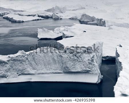 Greenland Icebergs and glaciers, part of the glacier. - stock photo