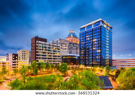 Greensboro, North Carolina, USA downtown city park and skyline. - stock photo