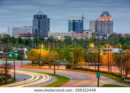 Greensboro, North Carolina, USA downtown skyline.  - stock photo