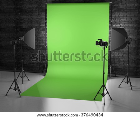 Greenscreen Studio With Lightbox And Softbox Film Green Backdrop 3d Rendering