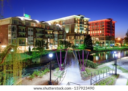 Greenville, South Carolina at Falls Park in downtown at night. - stock photo