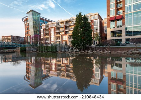 Greenville South Carolina Downtown Waterfront Development Falls Park - stock photo