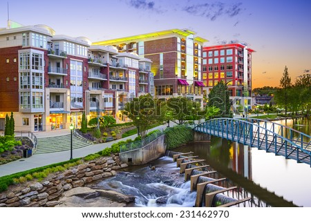 Greenville, South Carolina town cityscape - stock photo