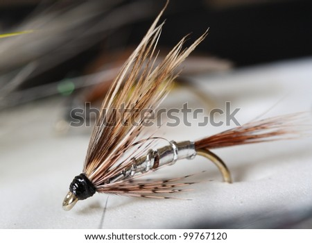 Greenwell's Glory - Artificial fly used for trout fishing. - stock photo