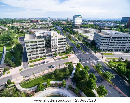 Greenwood Village, Colorado, USA-June 27, 2015. Aerial view of business park with urban park. - stock photo
