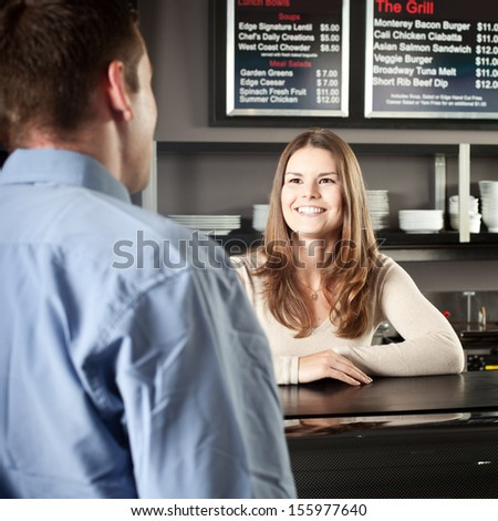 Greeting A Customer - stock photo