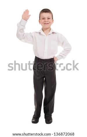 greeting boy isolated on white - stock photo
