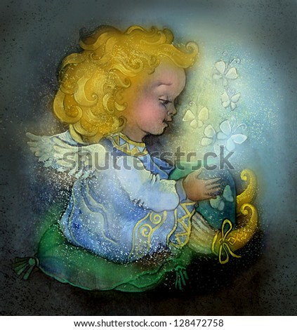 greeting card. Angel - stock photo