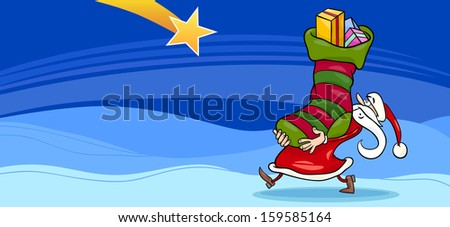 Greeting Card Cartoon Illustration of Santa Claus or Papa Noel with Christmas Presents in the Big Sock