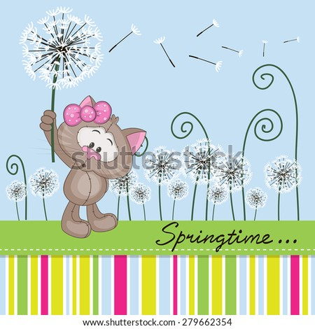 Greeting card Cute Cat with dandelion on a meadow  - stock photo