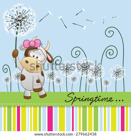 Greeting card Cute Cow with dandelion on a meadow  - stock photo
