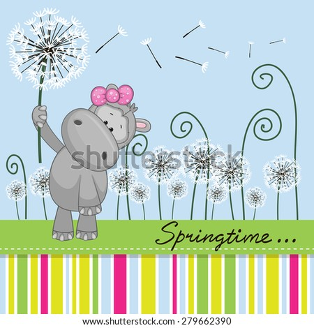 Greeting card Cute Hippo with dandelion on a meadow  - stock photo