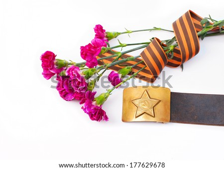 Greeting card design for military with flowers, a St. George Ribbon and a belt on on white background. - stock photo