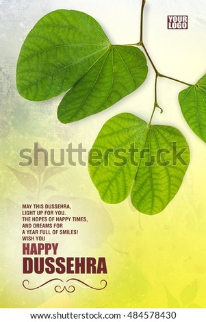 Greeting card design indian festival dussehra stock photo royalty greeting card design of indian festival dussehra showing golden leaf piliostigma racemosum m4hsunfo