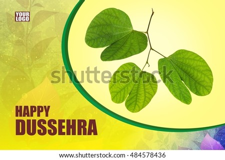 Greeting card design indian festival dussehra stock photo royalty greeting card design of indian festival dussehra showing golden leaf piliostigma racemosum m4hsunfo