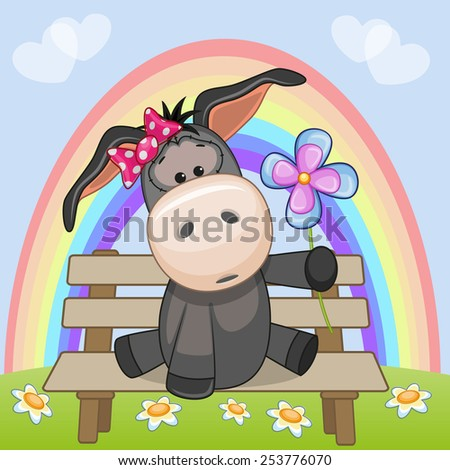 Greeting card Donkey with flower  - stock photo