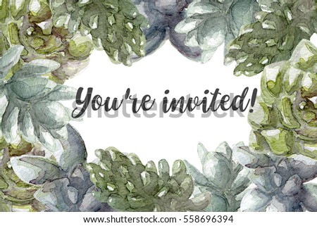 Greeting card flowers watercolorHand painting invitation