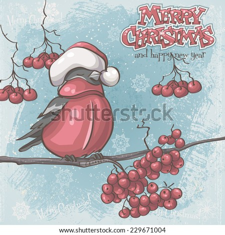 Greeting card for Christmas and New Year depicting bullfinches on branches of a mountain ash - stock photo