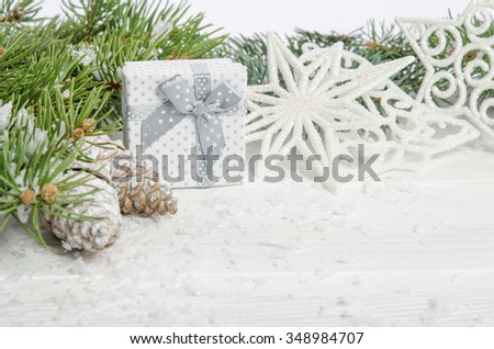 Greeting card for Christmas on wooden top