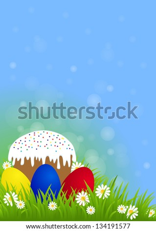 greeting card for Easter with Easter cake and painted eggs on green grass