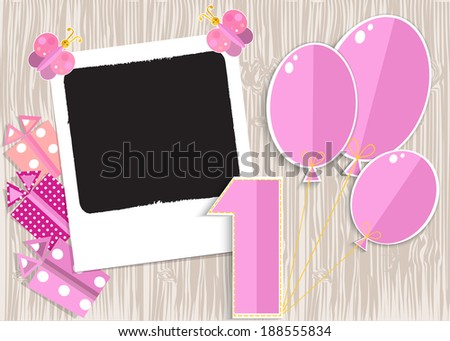 Greeting card for girl in wooden background. Illustration format.