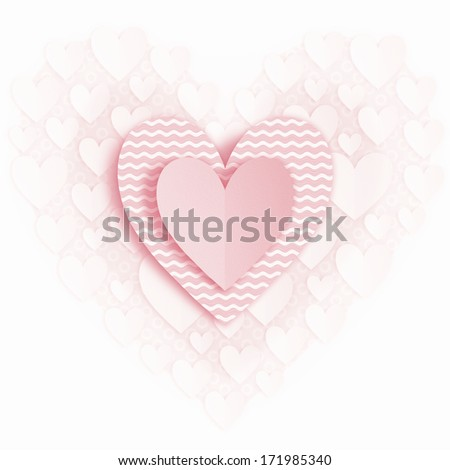 Greeting card for Valentines day. Applique.  - stock photo