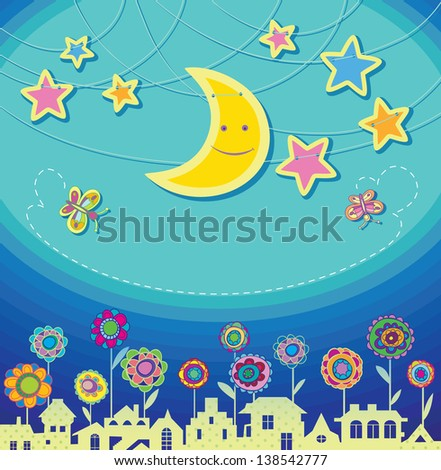Greeting card for your child. Magic night in the city.  Raster version