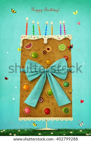 Greeting card Happy Birthday with colorful cake.  - stock photo