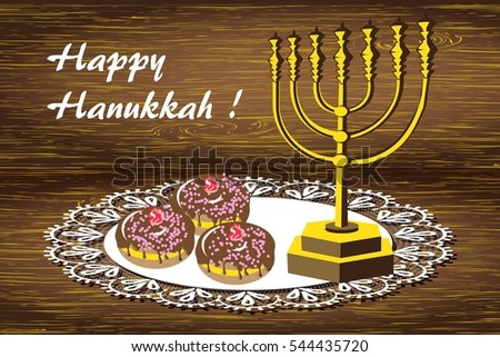 Greeting card happy hanukkah background jewish stock illustration greeting card happy hanukkah background for jewish holiday with golden menorah tasty chocolate glazed donuts m4hsunfo