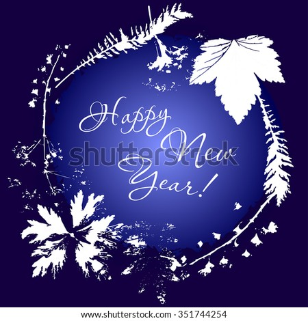 Greeting card happy New Year - stock photo
