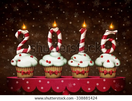 Greeting Card Happy New Year. Four cakes - stock photo