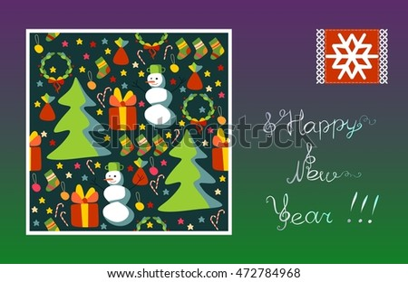 Greeting card Happy New Year! Snowflake, snowman, Christmas tree, gift, stars.
