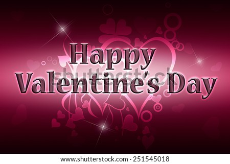Greeting card Happy Valentine's Day. Red and pink background.  - stock photo