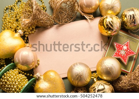 Greeting card  mock up with christmas ornaments