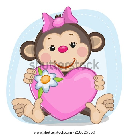 Greeting card Monkey and heart - stock photo