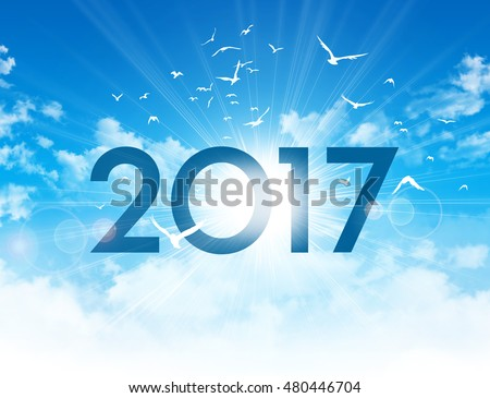 Greeting card - New Year 2017 type high in blue sky with the sunrise and birds flight