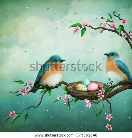 Greeting card or illustration for Easter with blue birds and eggs in nest - stock photo