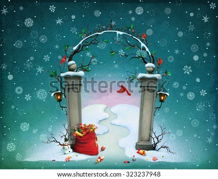 Greeting card or poster, illustration  gate at Christmas with  bag of gifts - stock photo
