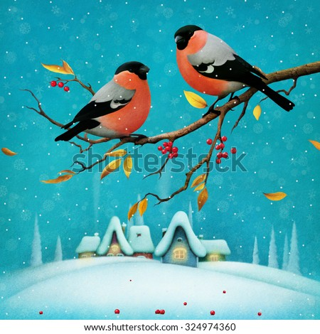 Greeting card or poster Merry Christmas and  Happy New Year with   winter landscape and Bullfinch on  branch.  - stock photo