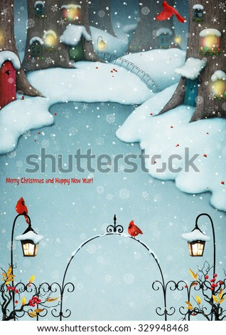 Greeting card or poster or illustration with forest winter village - stock photo